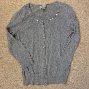 3/$20 loft grey cardigan jeweled neckline